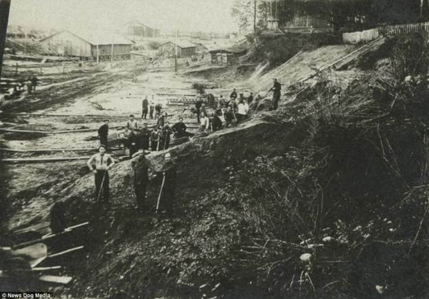 Prisoners at work in a gulag pause for a moment's rest in 1936. By the time the last Soviet gulag closed its gates, millions had died. Some worked themselves to death, some had starved, and others were simply dragged out into the woods and shot. These pictures remind us of one of the darkest chapters of twentieth century history