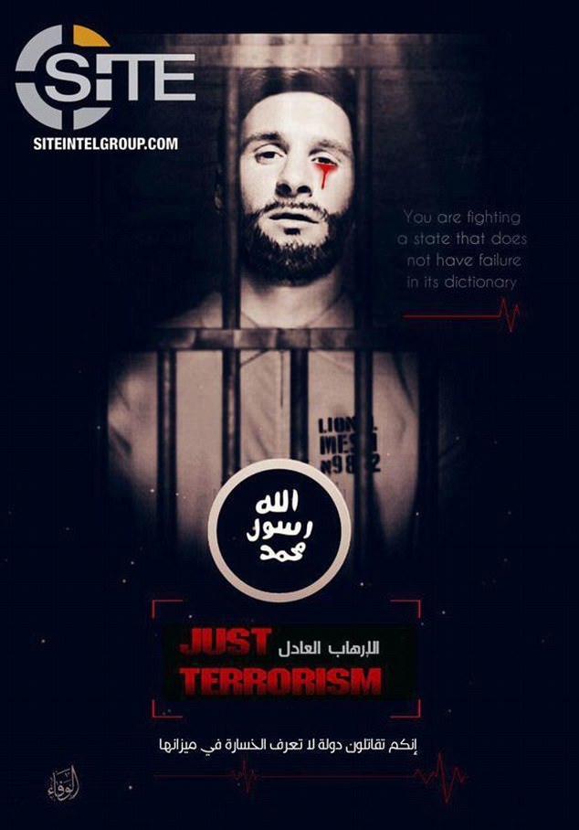 Previous posters released by ISIS include this image of Lionel Messi behind bars and crying blood