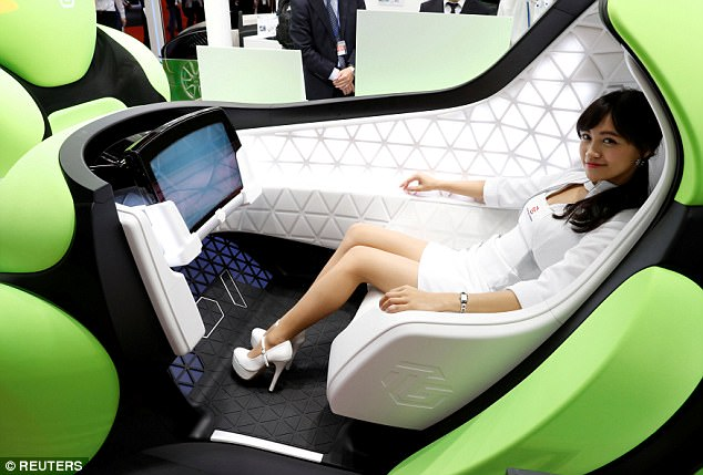 The inside of the ultra-compact car is lined with 'softly-textured material,' according to the firm. It also contains LED lighting, to create a 'soothing space'
