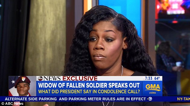 Mrs. Johnson (pictured), the widow of Sgt. La David Johnson, has been waiting for weeks to be told how her husband died