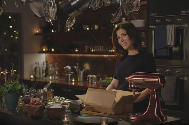 copper kitchen aid cabinet kings reviews nigella sparks a sales frenzy with rose gold kitchenaid daily mail goals lawson s latest culinary offering at my table saw her using