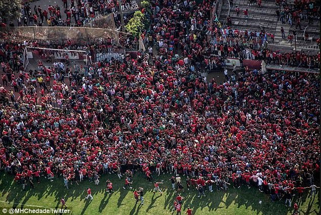 Al Ahly supporters turned out in their thousands and the training session was abandoned