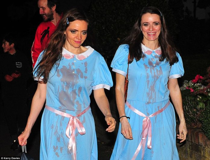 Double trouble: Another pair of guests arrived as zombie twins