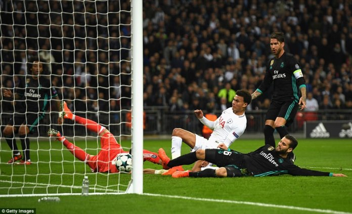 Alli opened the scoring as he managed to get a toe on the cross to divert past Real Madrid goalkeeper Casilla