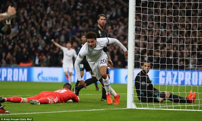 The Tottenham midfielder showed his desire to get on the end of the cross and get across Nacho in the six yard box