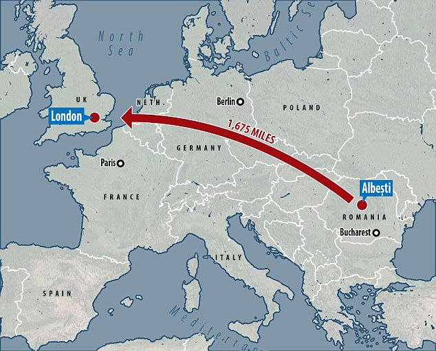 He went drinking with his friends in Albesti (pictured on the map) and woke up 1,675 miles away in London
