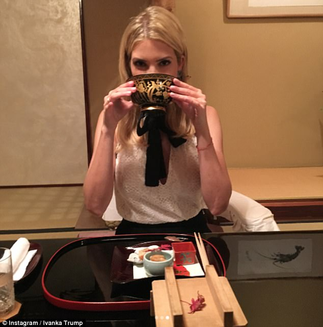 Mementos: Ivanka shared photos of herself enjoying her meal on Instagram. She can be seen bringing a bowl to her lips and interacting with their hosts