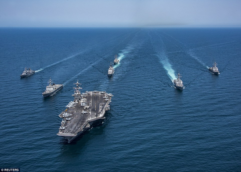 This is how the Vinson deploys: In May the supercarrier was photographed from the air as it and the whole strike group got an escort from two South Korean destroyers, the Sejong the Great and the Yang Manchun. The C