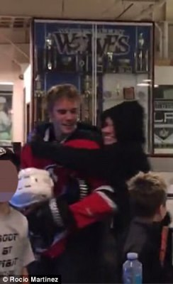 Loving life:The clip, filmed on Wednesday, showed Selena laughing as she rested her head on Justin's shoulder