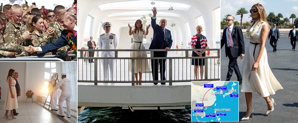 Trumps touch down in Hawaii before Asia trip