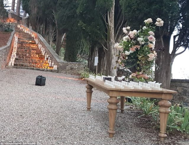 Picturesque: Their wedding took place outdoors in the Italian city of Montalcino at what appeared to be an estate