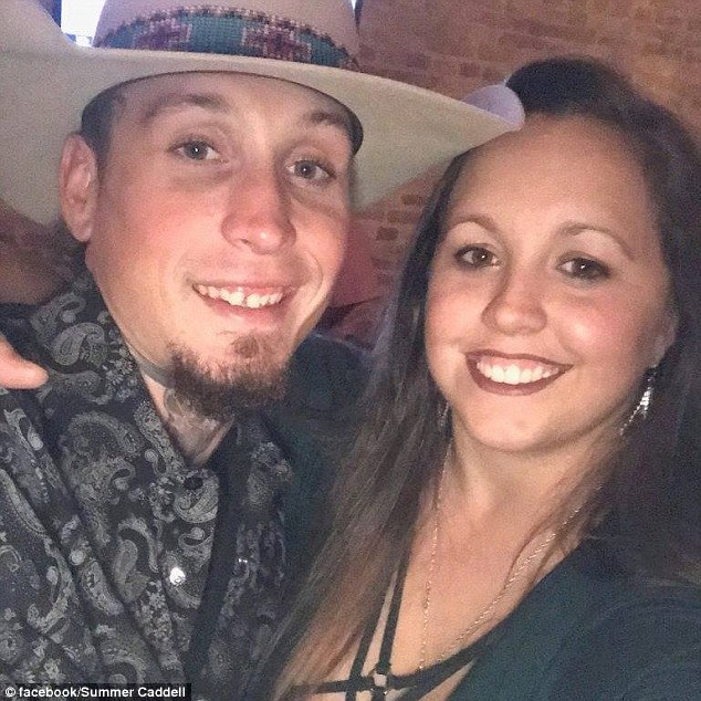 In a Facebook post, Langendorff's girlfriend Summer Caddel (pictured with him) described how the pair had 'jumped in my boyfriend's truck and they chased that sick b*****d down in pursuit until the cops could catch up