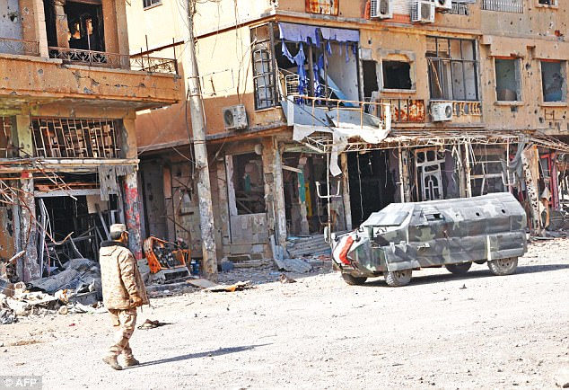 The ravaged city of Deir ez-Zor which is said to be where Abu Bakr al-Bagdhadi has moved to