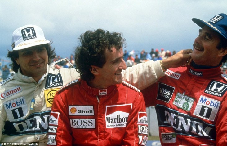 In one of the most closely contested title battles in Formula One history, the final race of the season at Adelaide in 1986 saw three drivers in with a chance of winning the title. Clear favourite was Nigel Mansell (right) as he is teased by Williams team-mate Nelson Piquet while Alain Prost looks on ahead of the title showdown between the trio
