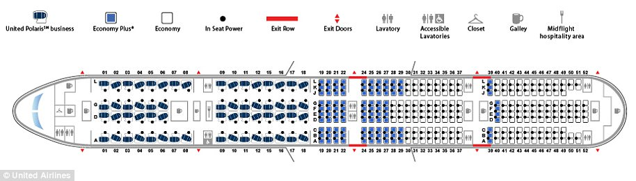 The 777 is able to carry the same number of passengers despite having two less engines. Pictured above is the standard seat configuration for a United 777 aircraft