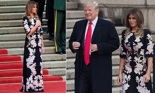 Melania Trump dons Chinese-inspired floral in Beijing