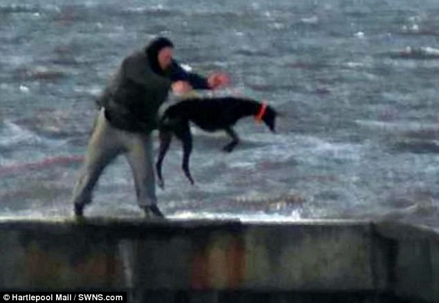 Disturbingly, he was then seen repeatedly throwing one of the dogs into the water and yanking it back out on a long line