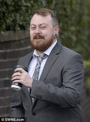 Mark Meechan, 30,(pictured yesterday outside Airdrie Sheriff Court) from Coatbridge, Lanarkshire, recorded the dog responding to statements such as 'gas the Jews' and 'Sieg Heil' by raising its paw