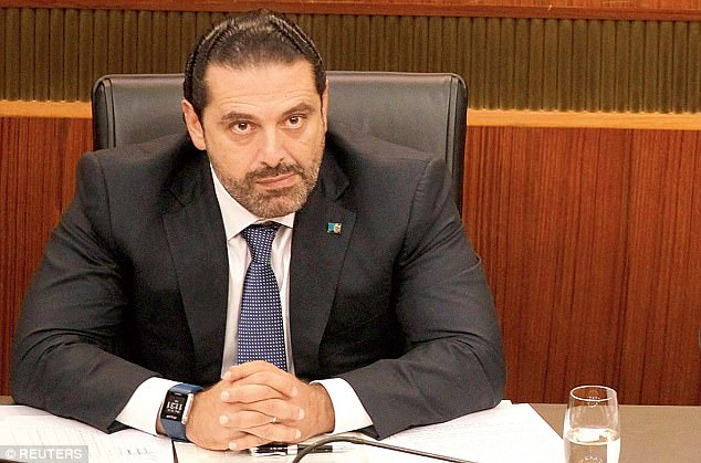 Lebanese link: Saad Hariri, who quit as Lebanon's prime minister, was said to be being held in Saudi Arabia by 'Blackwater' guards by his country's president  - but he deleted the tweet