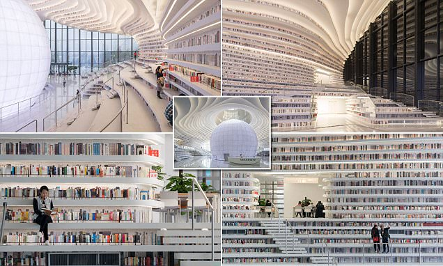 Chinas Tianjin Binhai Public Library revealed in photos
