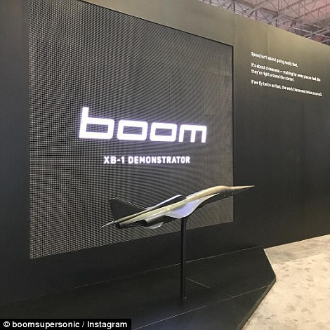 In November, Mr Scholl revealed that commercial flights on the  aircraft  could begin running by 2025, the vehicle cruising at up to 1,687mph (2,700kph) – 100mph (160kph) faster than the infamous Concorde. Pictured is a model of the firm's XB-1 demonstratot