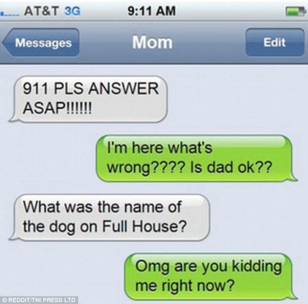 Emergency! This child was panicked when their mother text for an immediate response