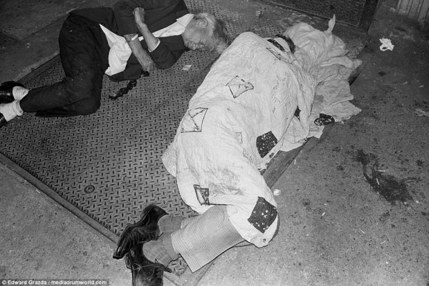 Bowery was the focal point of New York's decline - its derelict buildings filled with squatters, drug addicts and pimps while homeless men, often workers who simply could not afford anywhere to stay, slept out on the streets (pictured)