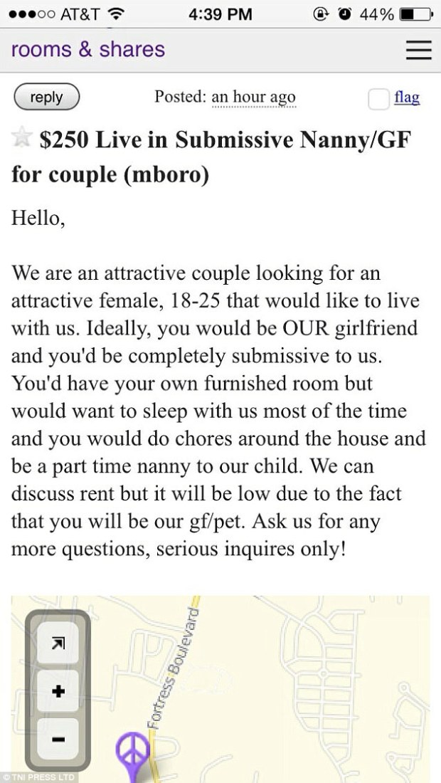A couple posted an advert to reveal they were seeking a girlfriend/pet hybrid who would be 'completely submissive'