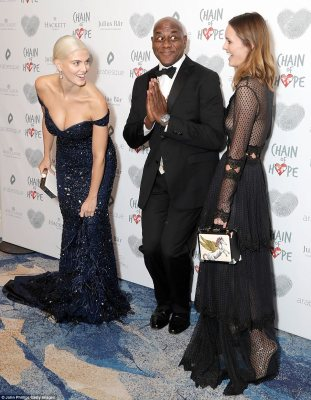 Terrific trio: Ashley and Charlotte were joined on the red carpet by Ainsley Harriott who seemed in good spirits