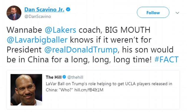 Before President Trump tweeted on the matter, Dan Scavino called LaVar Ball a 'BIG MOUTH' and a 'Wannabe Lakers coach' for not giving the president credit for helping his son