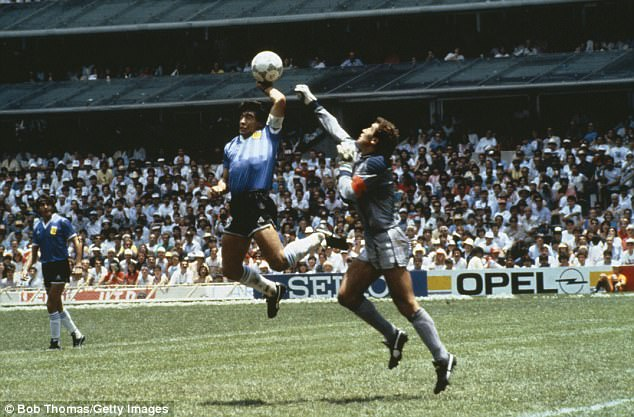 Maradona's infamous 'Hand of God' goal knocked out England of the quarter finals in 1986