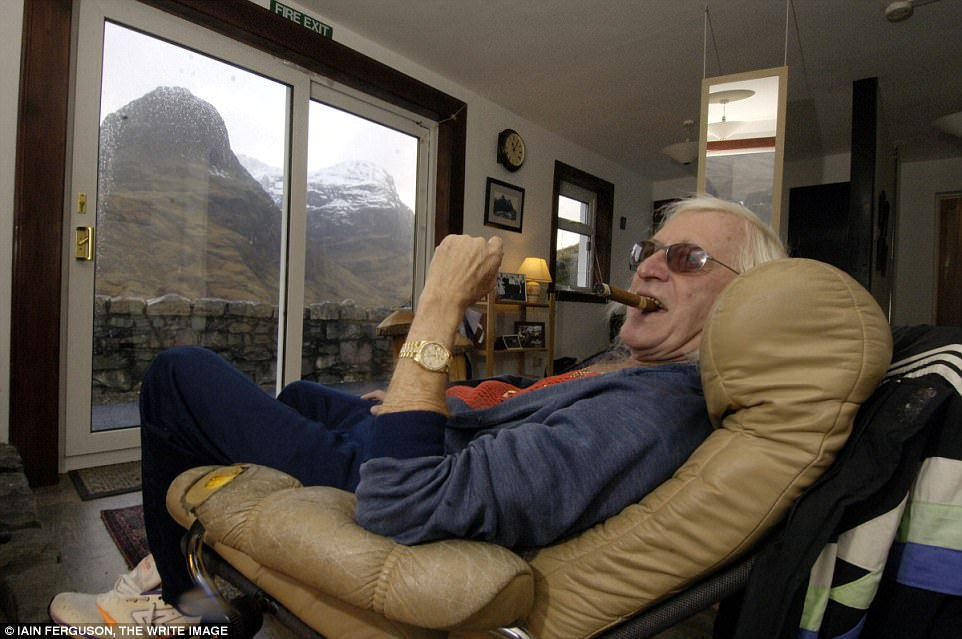 Savile, pictured at the home in 2008, carried out a horrific reign of abuse dating back to 1959 when he raped a girl aged 13