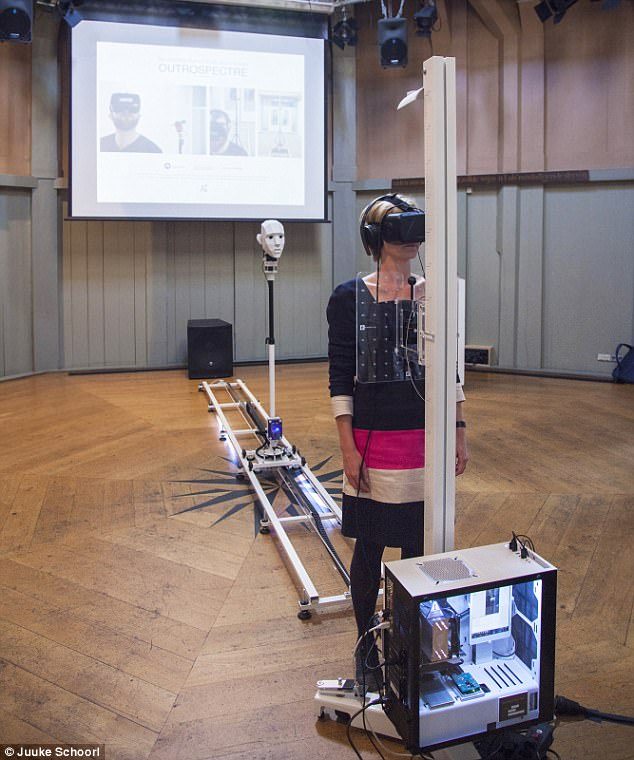 A device that simulates an out of body experience using virtual reality could be the key to overcoming our fear of death, according to its creator. This image shows the experimental device set up at theWaag Society in the Netherlands