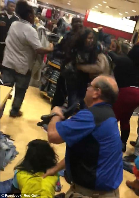 One person was shot outside a Missouri mall as hoards of shoppers fought each other for Black Friday deals.The Black Friday mayhem began at 5pm on Thanksgiving Day. While a brawl erupted in Birmingham, Alabama which shut down a late-night shopping session and closed parts of the mall