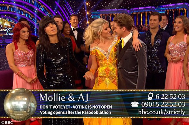Maybe not? Unfortunately Mollie and AJ refused to kiss during the live show, despite host Claudia Winkleman saying: AJ come on!