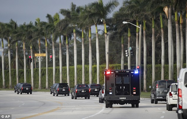 The incident took place as Trump was leaving the Trump International Golf Club in West Palm Beach to return to his Mar-A-Lago club in Palm Beach. The motorcade is seen above heading to the golf club in West Palm Beach
