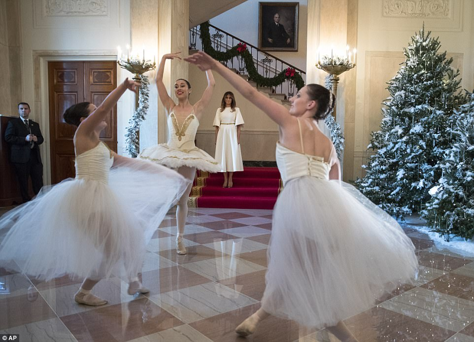 WHAT AN ENTRANCE: First lady Melania Trump walked down the Grand Staircase into the Grand Foyer to be greeted by a trio of ballerinas dancing to a piece from the Nutcracker as she kicked off her holiday tour