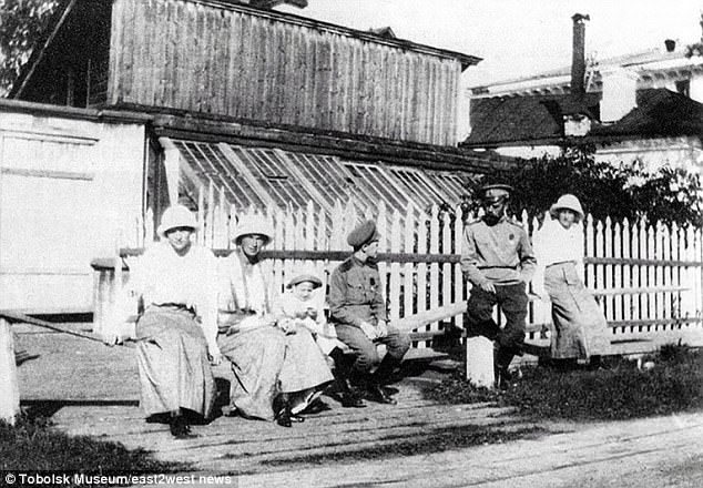 The country's final emperor was shot with his wife and five children by Communist revolutionaries in 1918 after Vladimir Lenin came to power. Pictured:Romanov family in Tobolsk