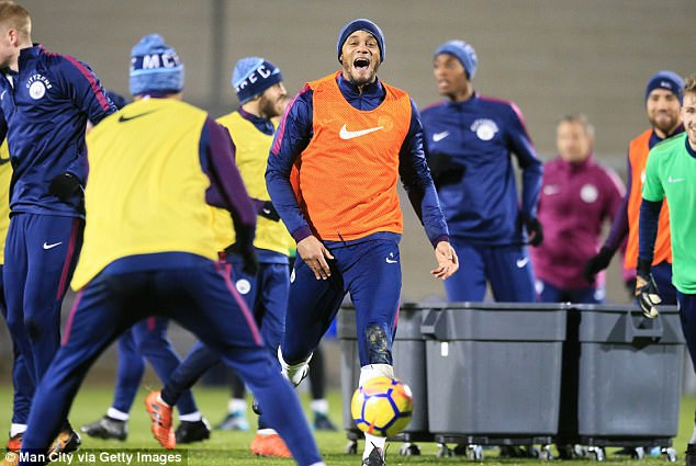 Club captain Vincent Kompany looked to be enjoying training ahead of Wednesday's tie