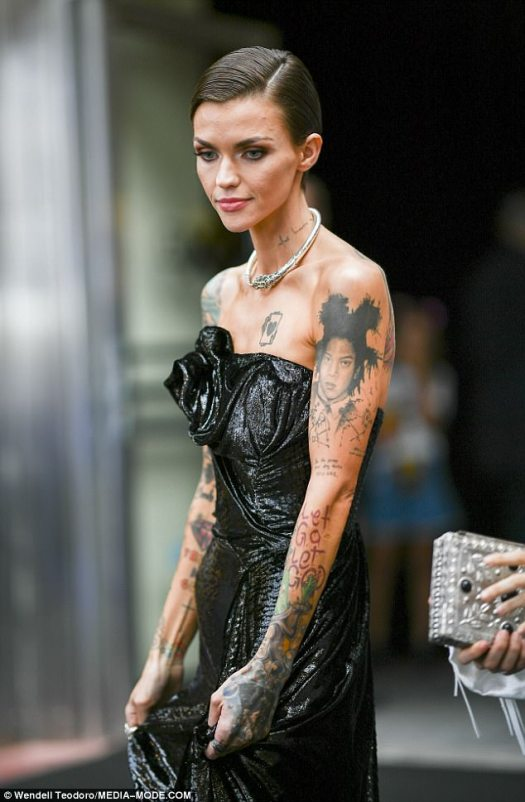 Stepping out: Ruby Rose put on a defiant display when she attended the Sydney premiere of her latest film, Pitch Perfect 3, on Wednesday after sparking fan concern about her weight earlier this week