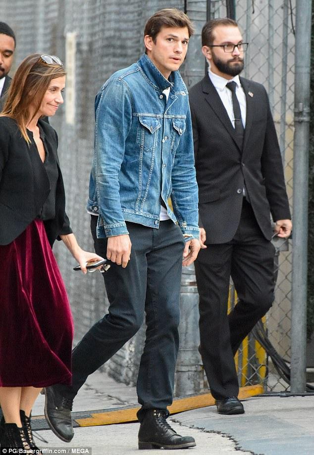 Ashton Kutcher Wears Denim Jacket As He Heads To Kimmel