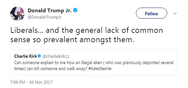 Don Jr also blamed the verdict on democrats. Responding to a question Charlie Kirk posed in a tweet about how 'an illegal alien can kill someone and walk away,' Don Jr responded 'Liberals... and the general lack of common sense so prevalent amongst them'