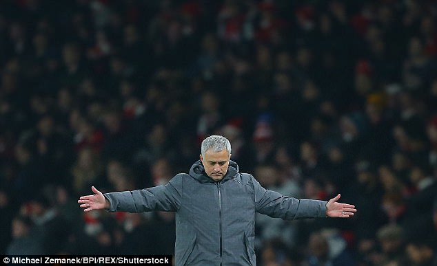 Mourinho celebrates during his team win over Arsenal in the Premier League