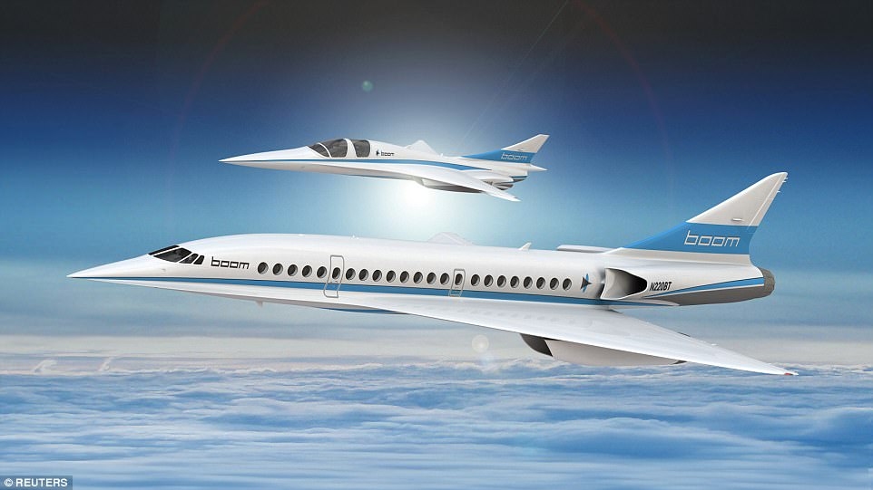 XB-1 (top), also known as the 'Baby Boom', is a 1,687mph (2,716kph) two-seater demonstrator jet designed to test the firm's supersonic technology, but Boom is also developing a 55-seat passenger plane (bottom) that it says will halve trans-Atlantic flight times