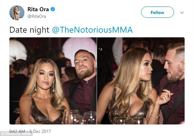 Popstar Rita later posted this tweet online with the provocative caption: 'Date Night'