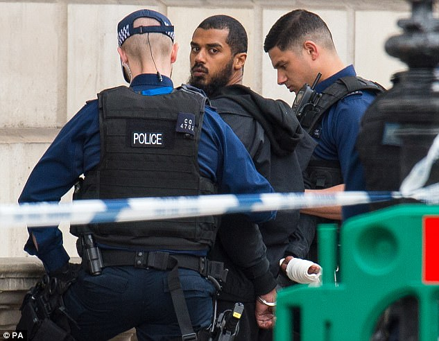 Khalid Mohammed Omar Ali, 27, was charged with an offence that involved 'purchasing knives and travelling to London'. He denies the charge and is awaiting trial