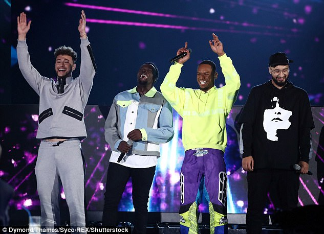 Triumph: The band became the first boyband to win in the 14-year history of the X Factor on Sunday