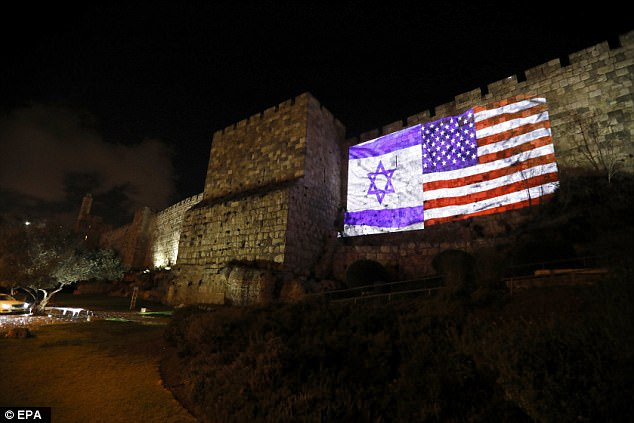 US and Israeli national flags were projected on the wall of Jerusalem's Old City on Wednesday