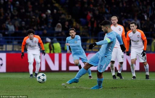 Sergio Aguero smashed home City's consolation from the penalty spot after Jesus was brought down in the Shakhtar area