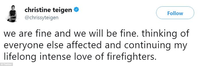 Chrissy Teigen tweeted her status as the Skirball Fire consumed sections of Bel Air, notifying fans she and her daughter Luna were safe